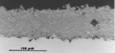 Microhardness indentations in tungsten carbide coating